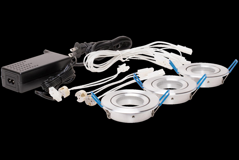 Three (3) head elevator lighting kit. Fusion LED MR16 not included
